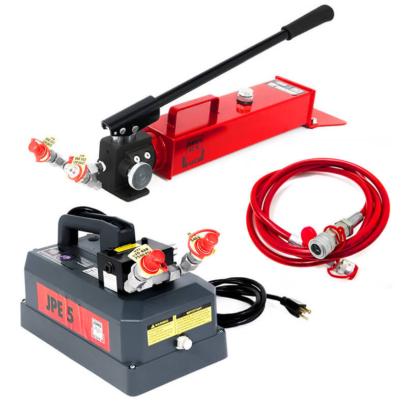 See our selection of pumps and hoses to operate JUNG toe jacks.