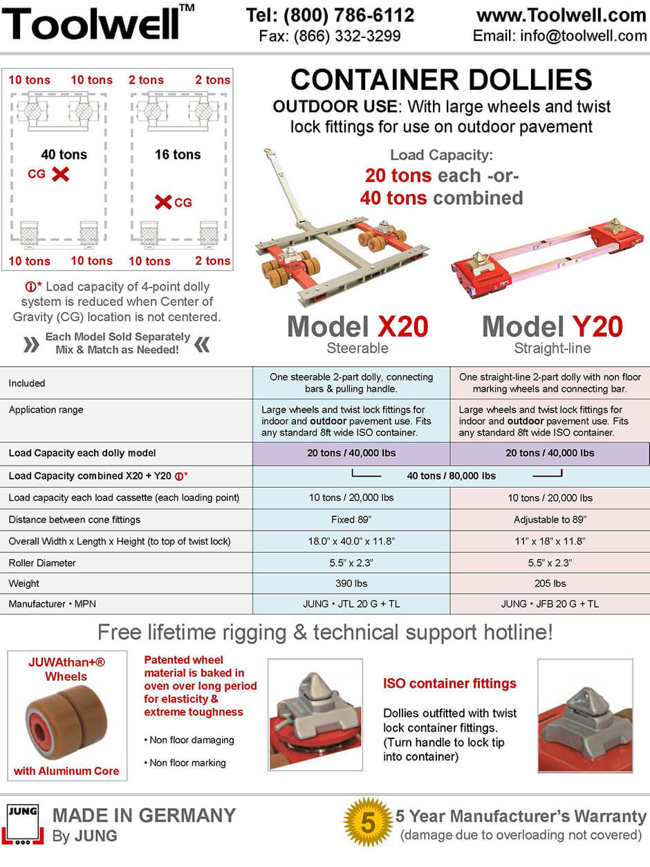 Container Dollies X20 and Y20 - Printable Details Spec Sheet