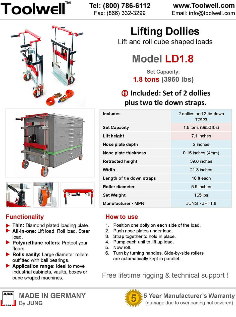Lifting Dolly LD1.8 - Printable Details Spec Sheet