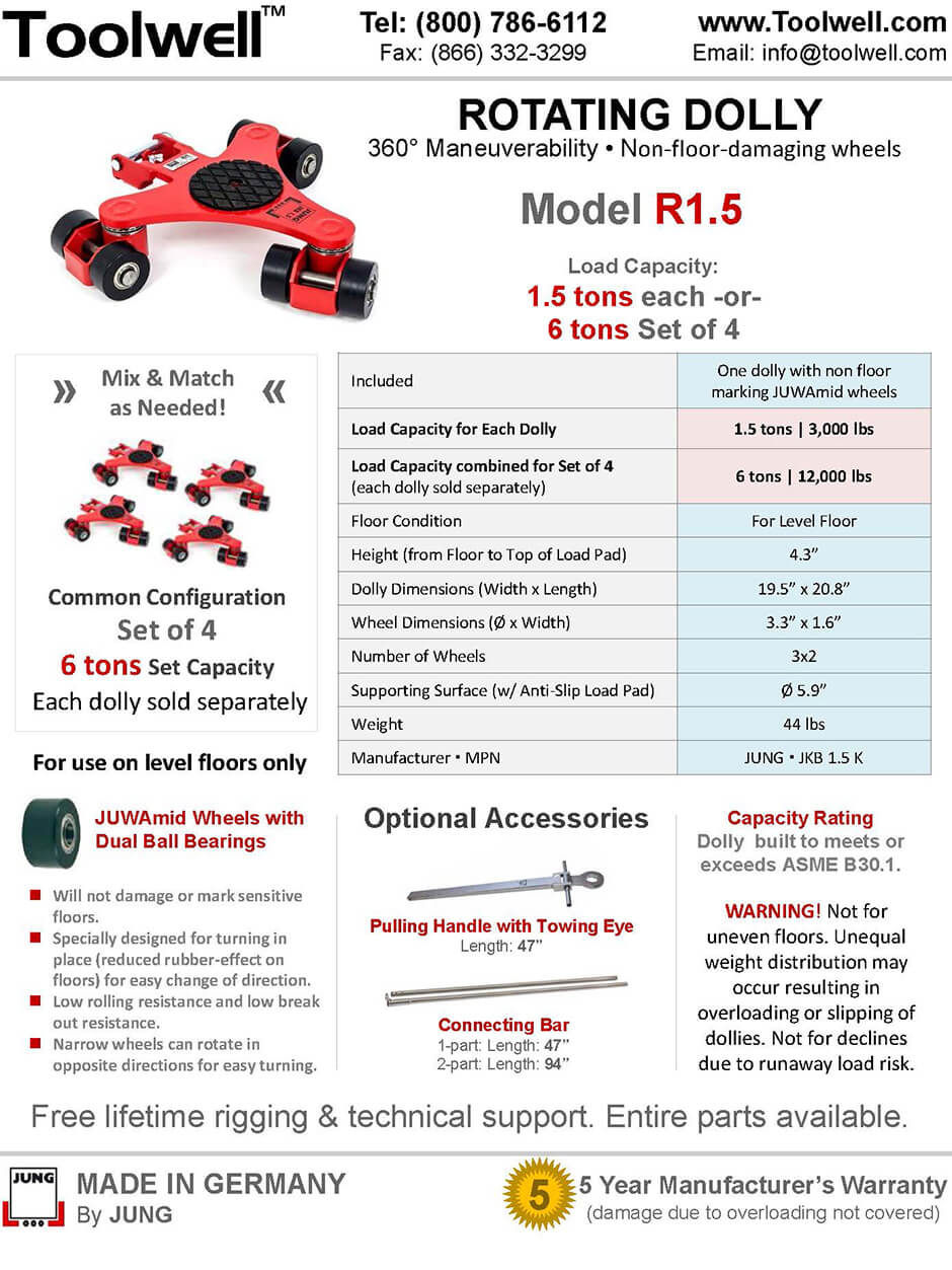 Rotating Dolly R1.5 - Printable Details Spec Sheet