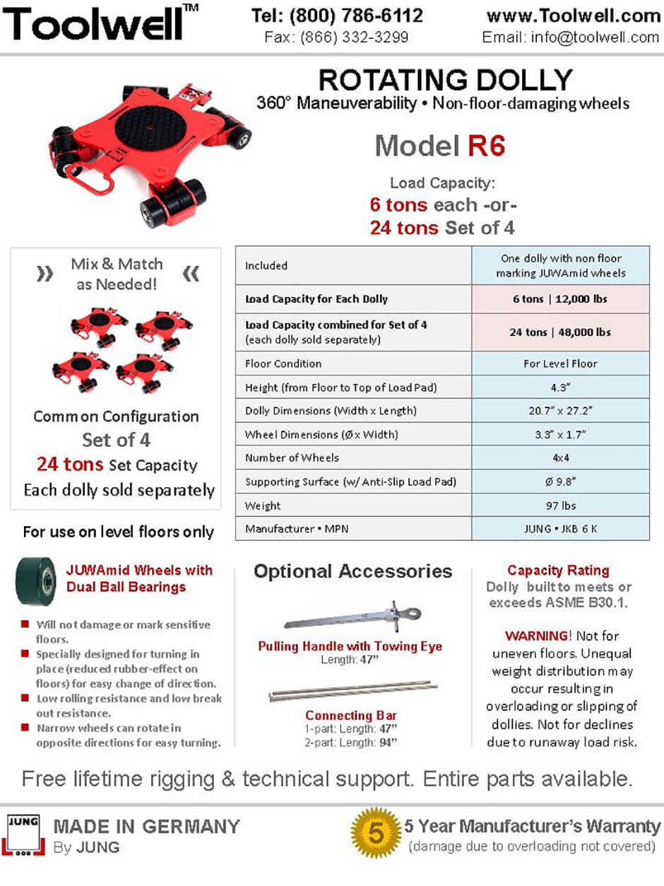 Rotating Dolly R6 - Printable Details Spec Sheet