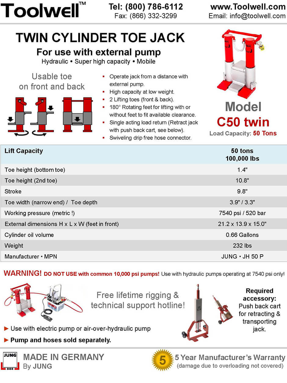 Twin Toe Jack for Lifting C50 - Printable Details Spec Sheet