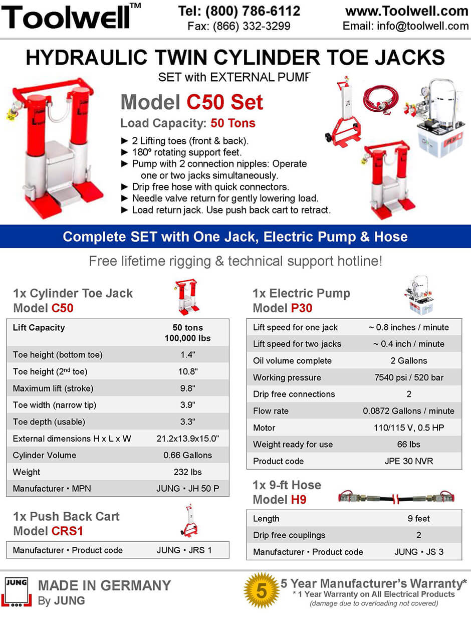Twin Toe Jack for Lifting C50 Set - Printable Details Spec Sheet