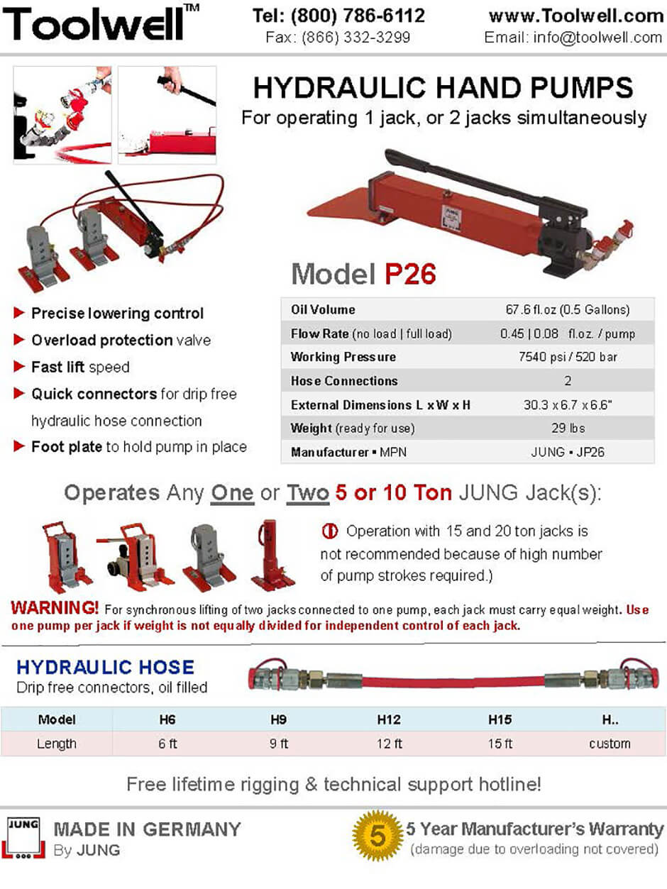 Toe Jack Pump P26 - Printable Details Spec Sheet