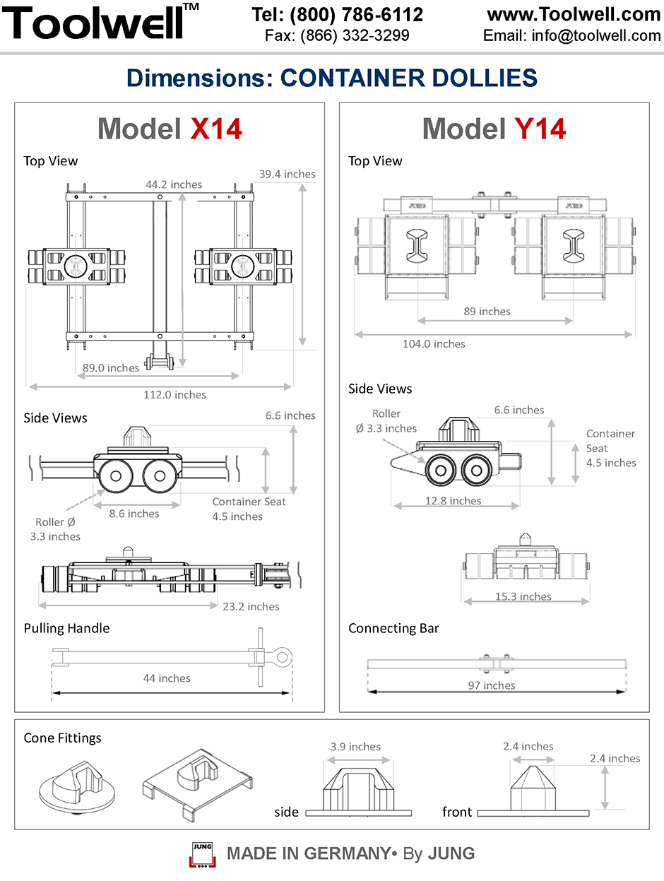 Container Dollies X14 and Y14 - Engineering Drawings Sheet
