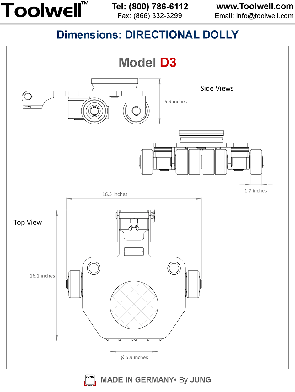 Directional Dolly D3 - Engineering Drawings Sheet