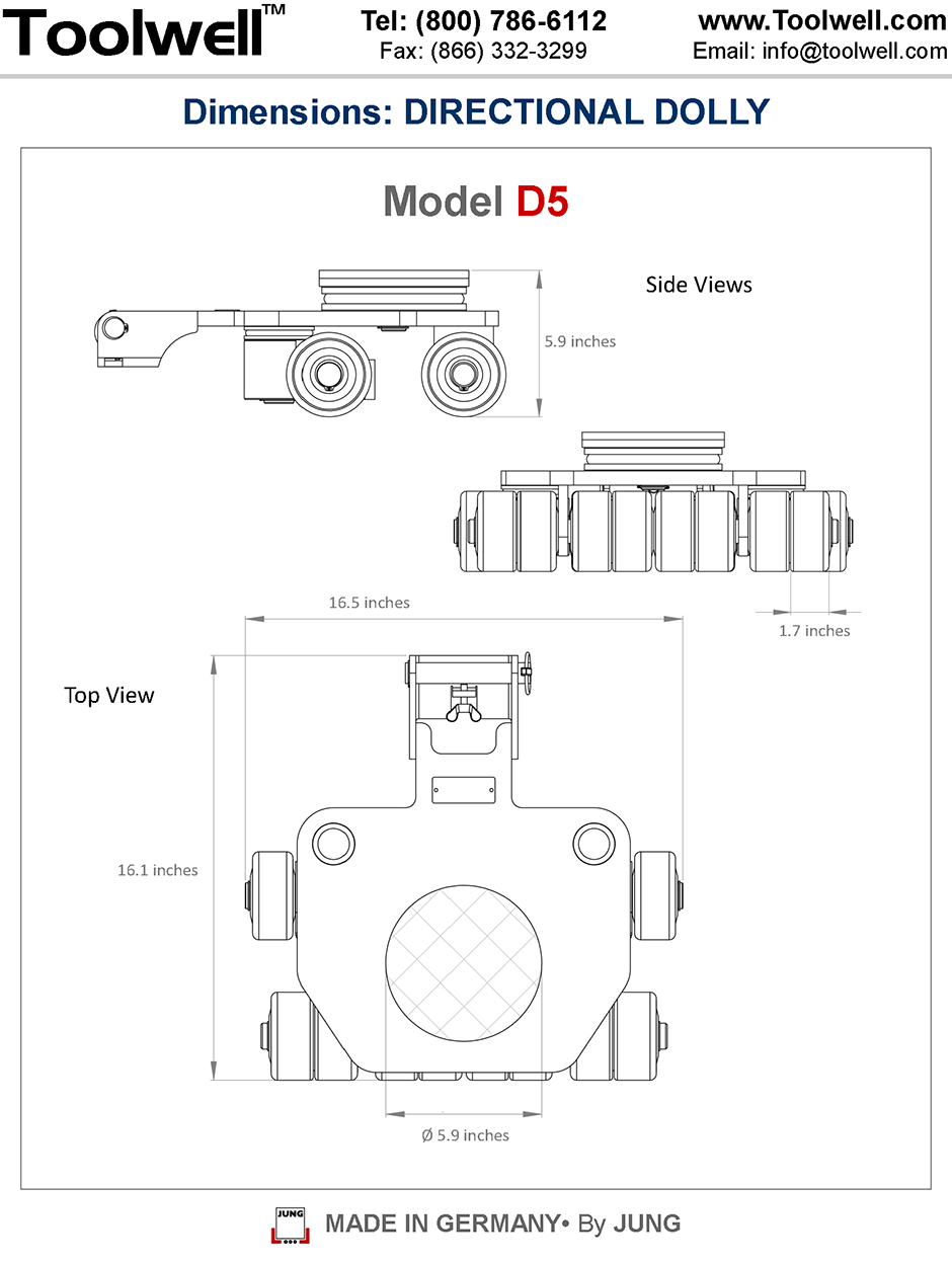 Directional Dolly D5 - Engineering Drawings Sheet
