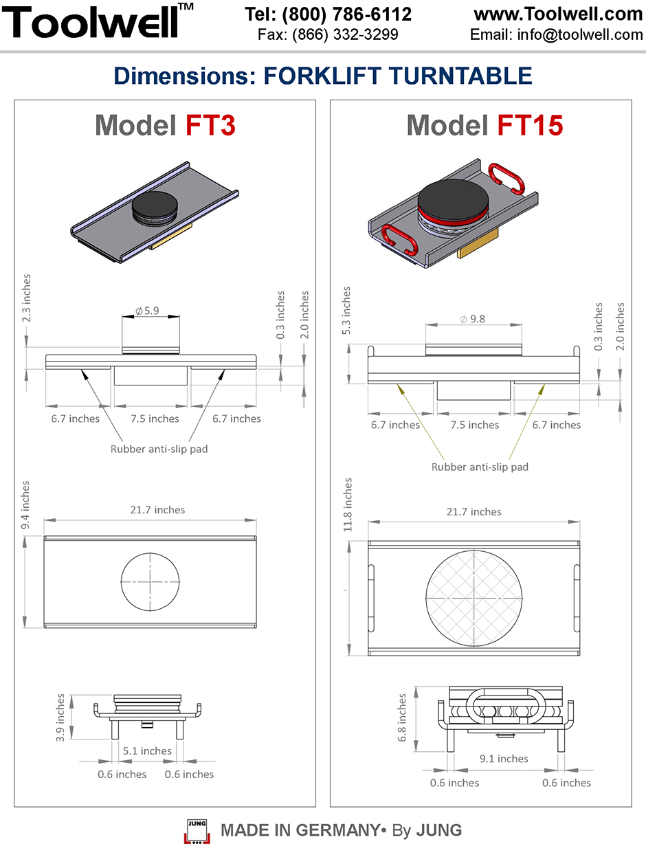 Forklift Turntables FT3 & FT15 - Engineering Drawings Sheet