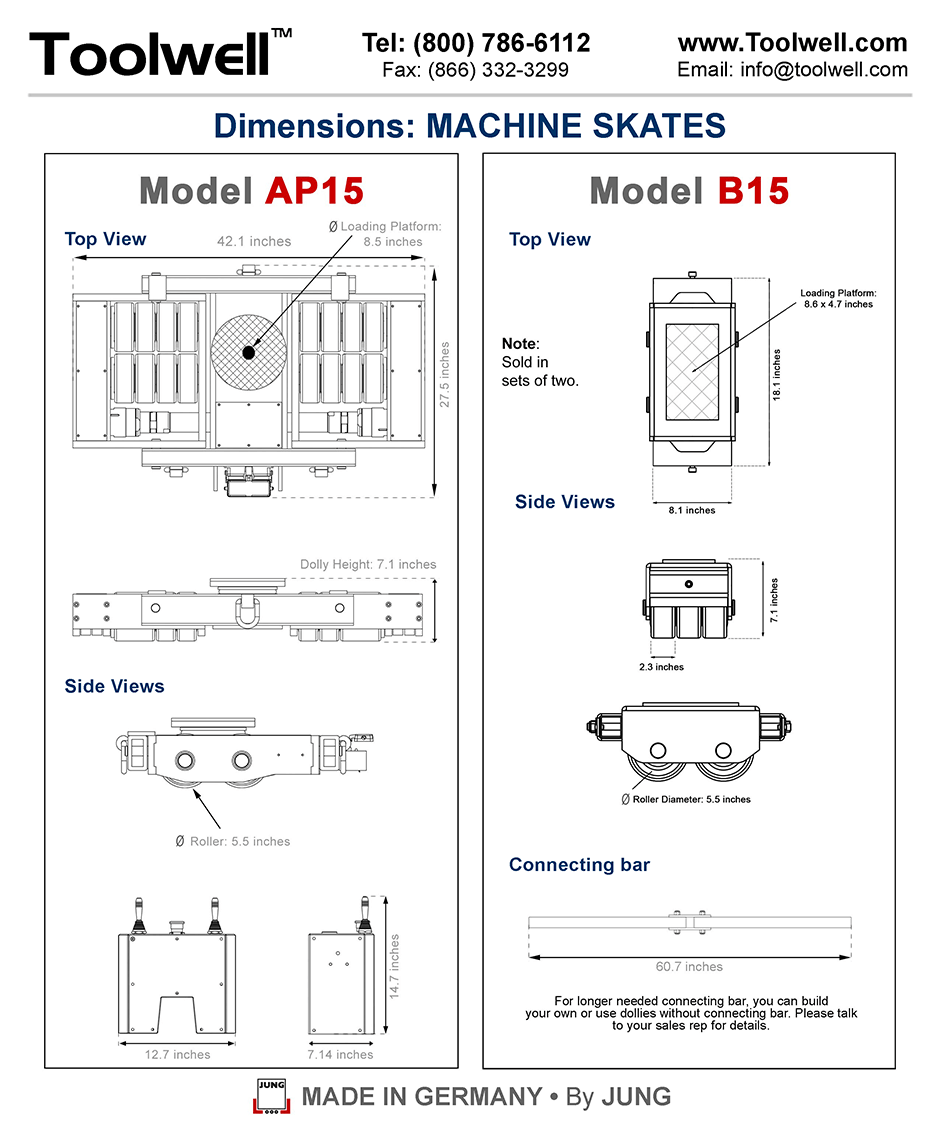 Industrial Air-Powered Skate AP15 and B15 - Engineering Drawings Sheet
