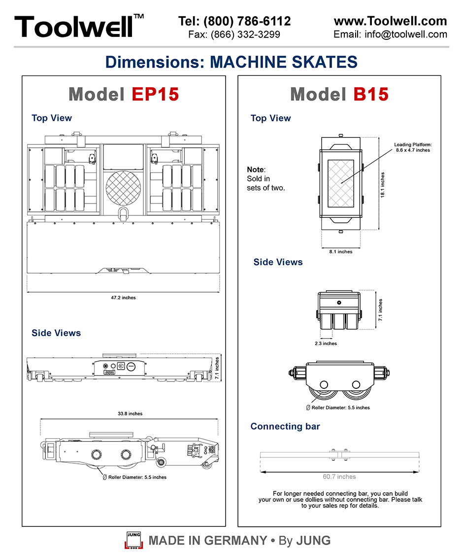 Industrial Battery-Powered Skate EP15 and B15 - Engineering Drawings Sheet