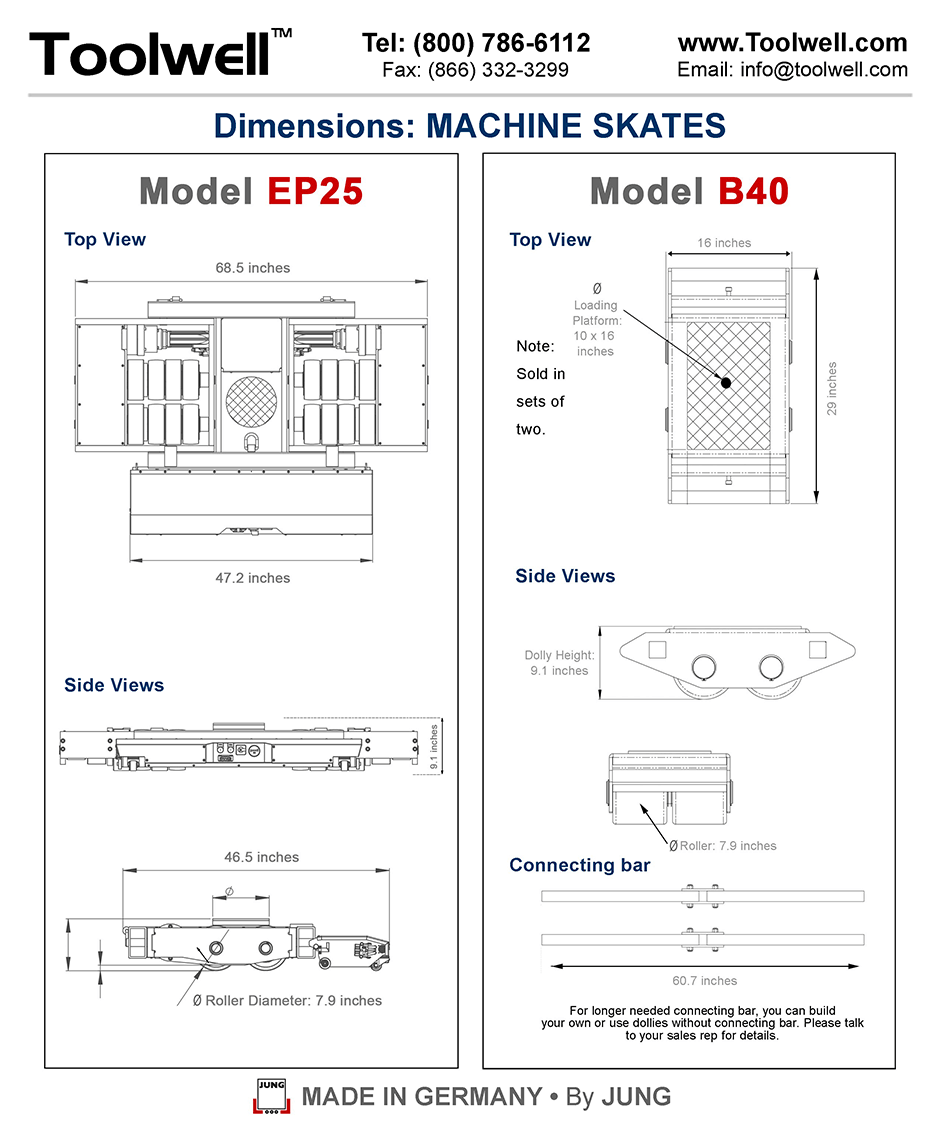 Industrial Battery-Powered Skate EP25 and B40 - Engineering Drawings Sheet