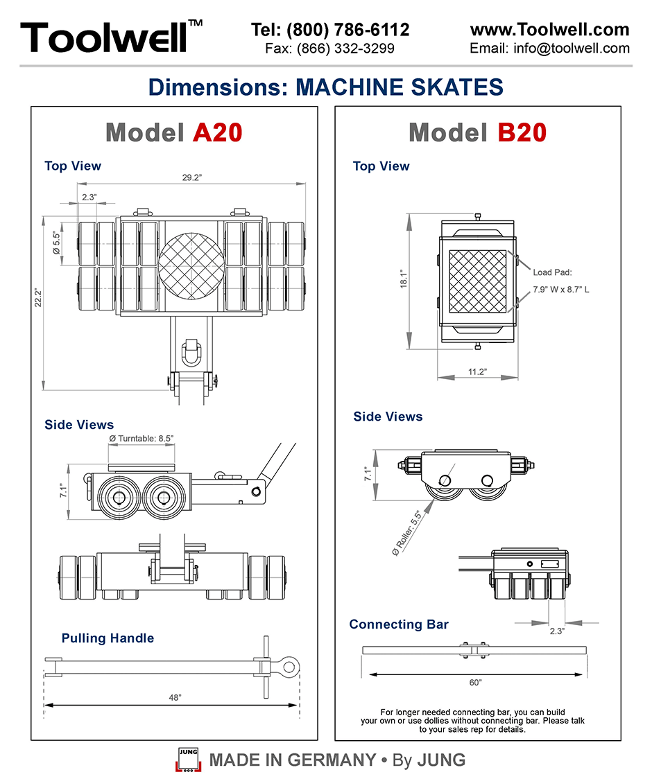 Machine Skates A20 and B20 - Engineering Drawings Sheet