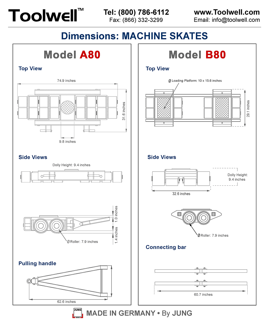 Machine Skates A80 and B80 - Engineering Drawings Sheet