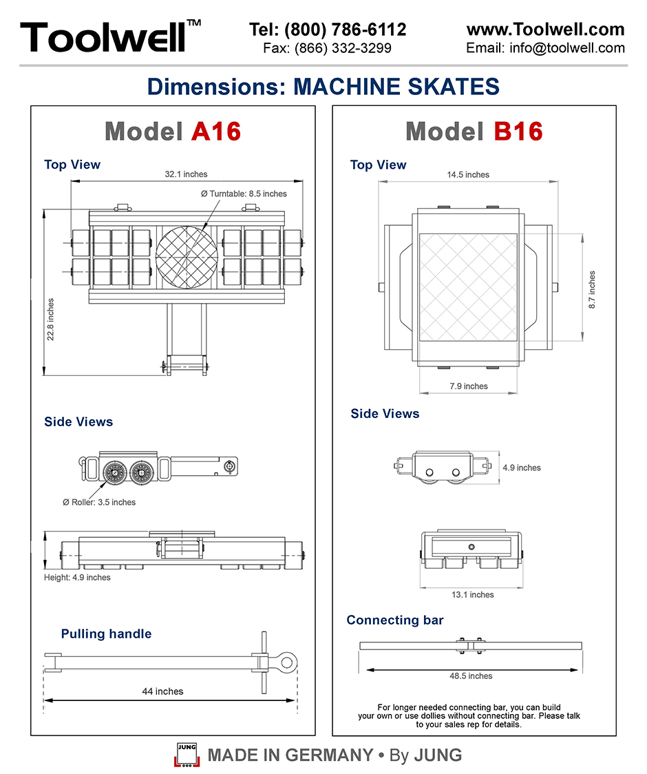 Machinery Skates A16 and B16 - Engineering Drawings Sheet