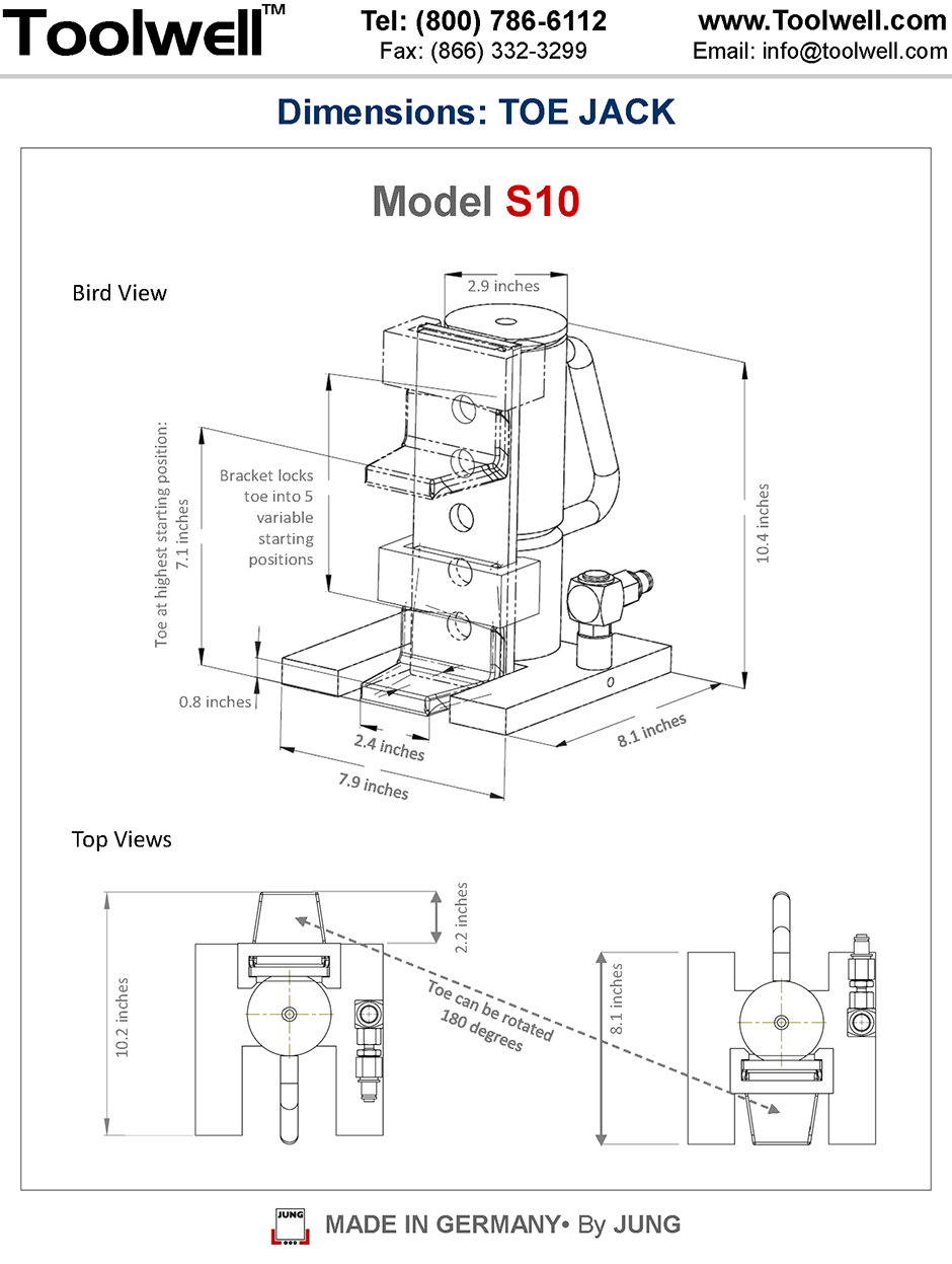 Toe Jack for Machine S-10 - Engineering Drawings Sheet
