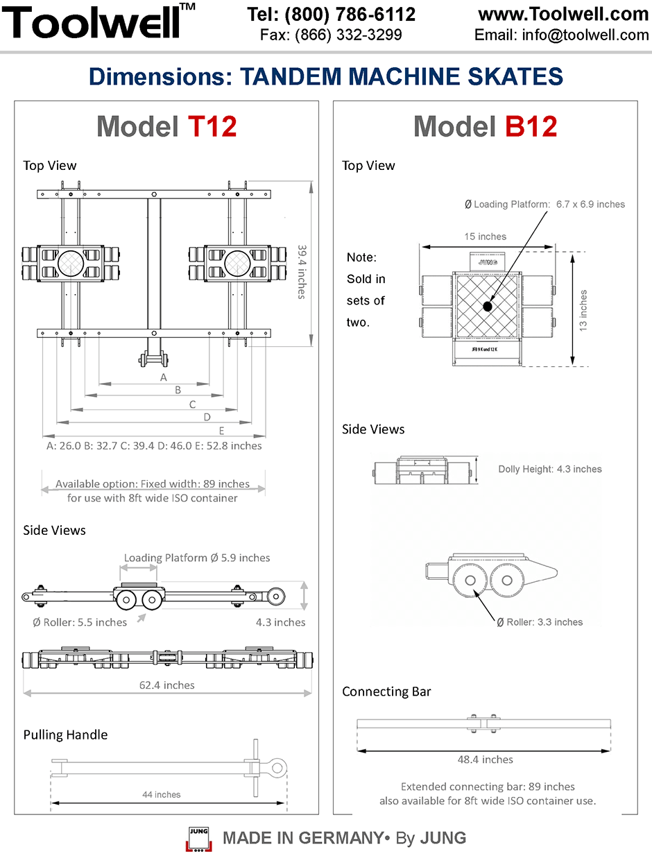 Machine Skates T12 and B12 - Engineering Drawings Sheet