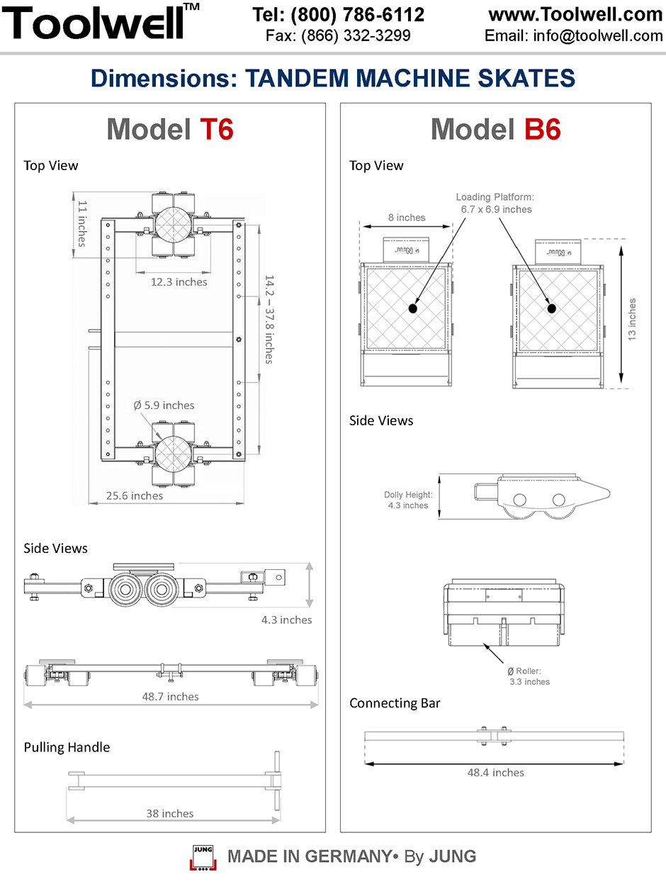 Machine Skates T6 and B6 - Engineering Drawings Sheet