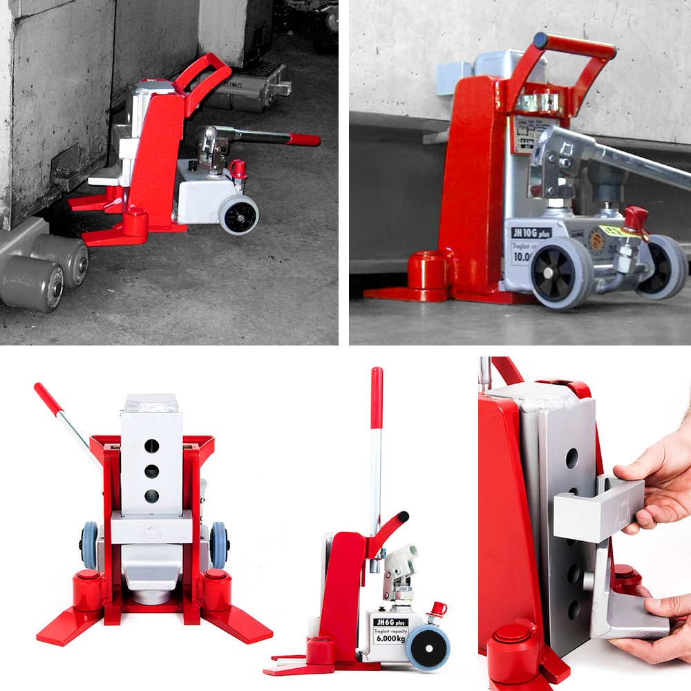 JUNG hydraulic toe jacks for heavy load lifting and machine lifting in use.