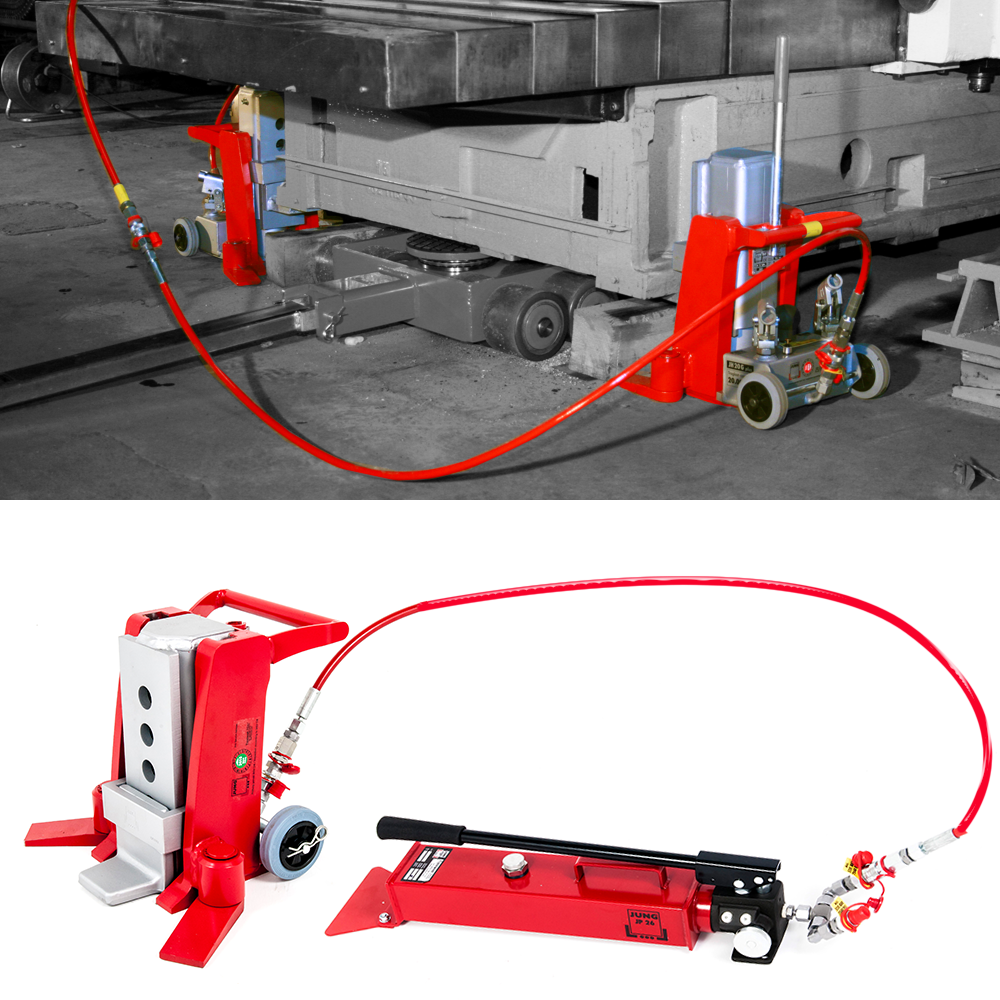JUNG pump operated toe jacks, also called claw jacks or tow jacks have a very low profile in use