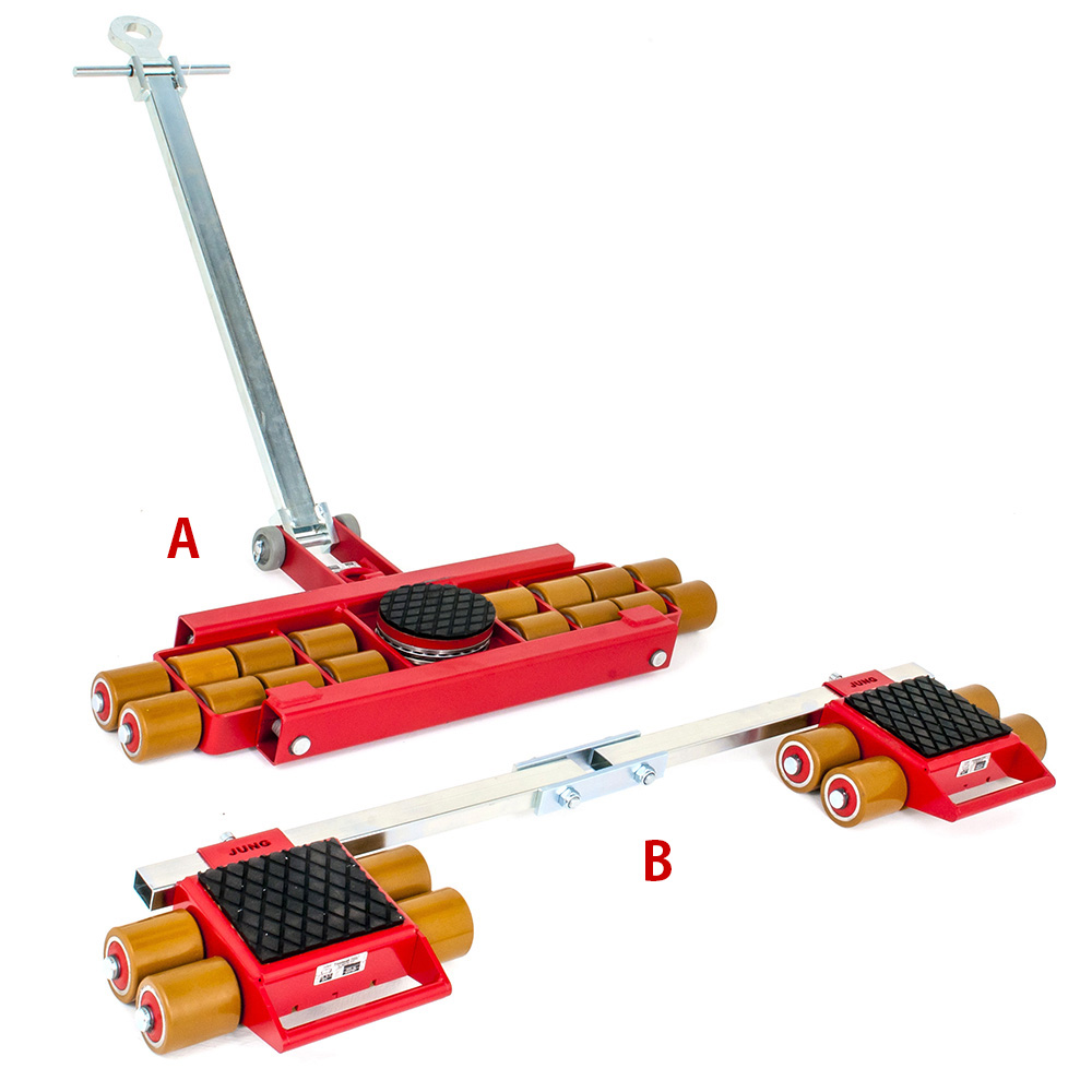 Use steerable rigging skate model A12 & Straight-line machine skate B12 for heavy equipment moving.