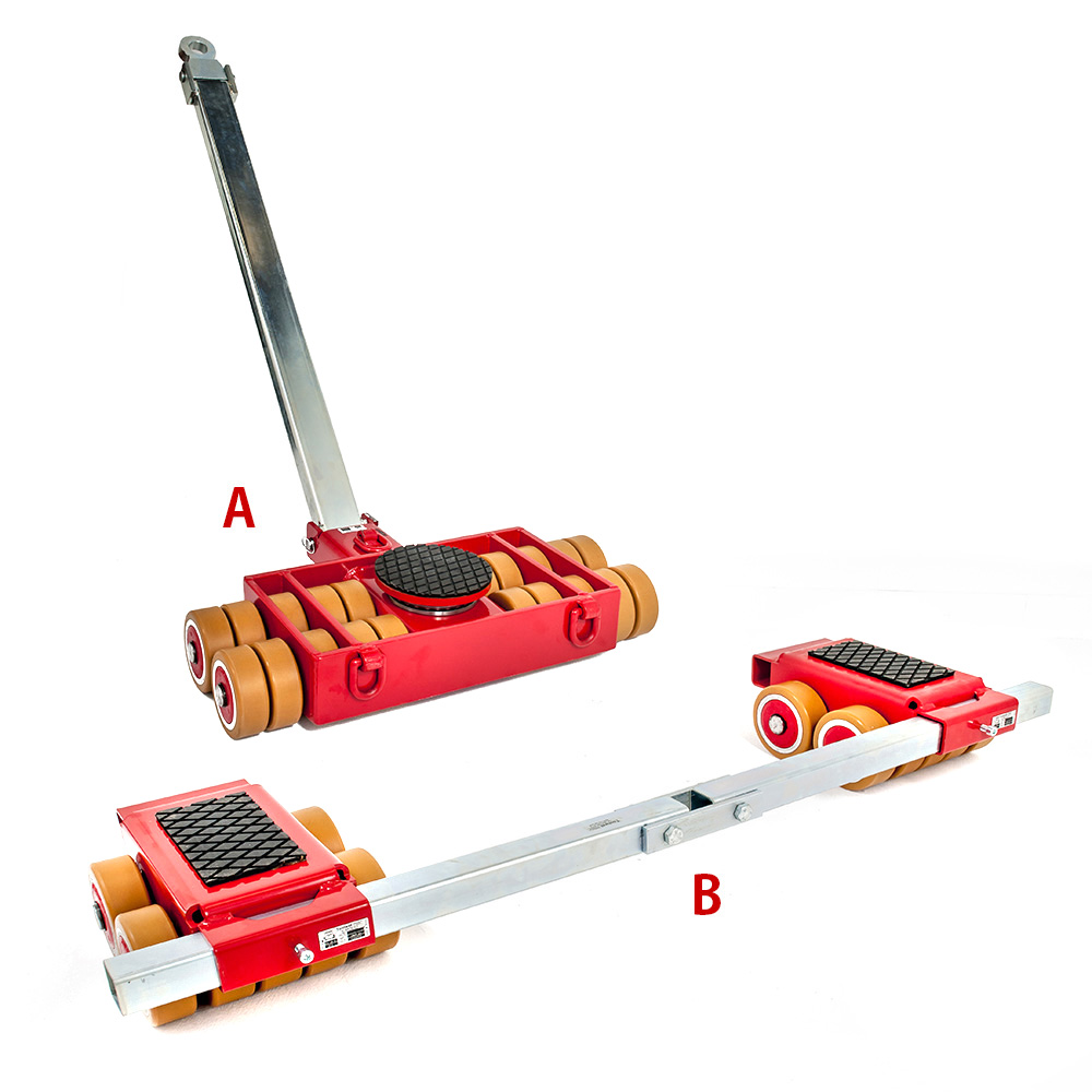 Use steerable rigging skate model A25 & Straight-line machine skate B25 for heavy equipment moving.