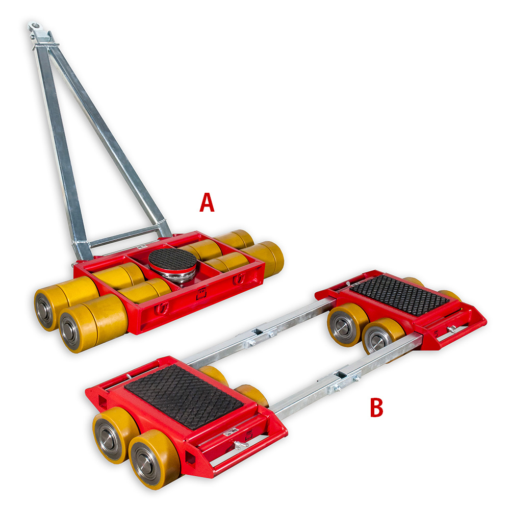 Use steerable rigging skate model A60 & Straight-line machine skate B60 for heavy equipment moving.