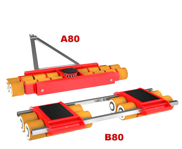 Use steerable rigging skate model A80 & Straight-line moving dolly B80 for heavy equipment moving.