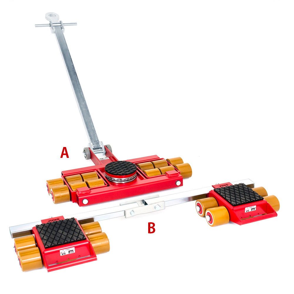 Use steerable rigging skate model A9 & Straight-line machine skate B9 for heavy equipment moving.