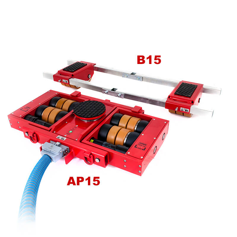 Use steerable rigging skate model AP15 & Straight-line moving skate B15 for heavy equipment moving.