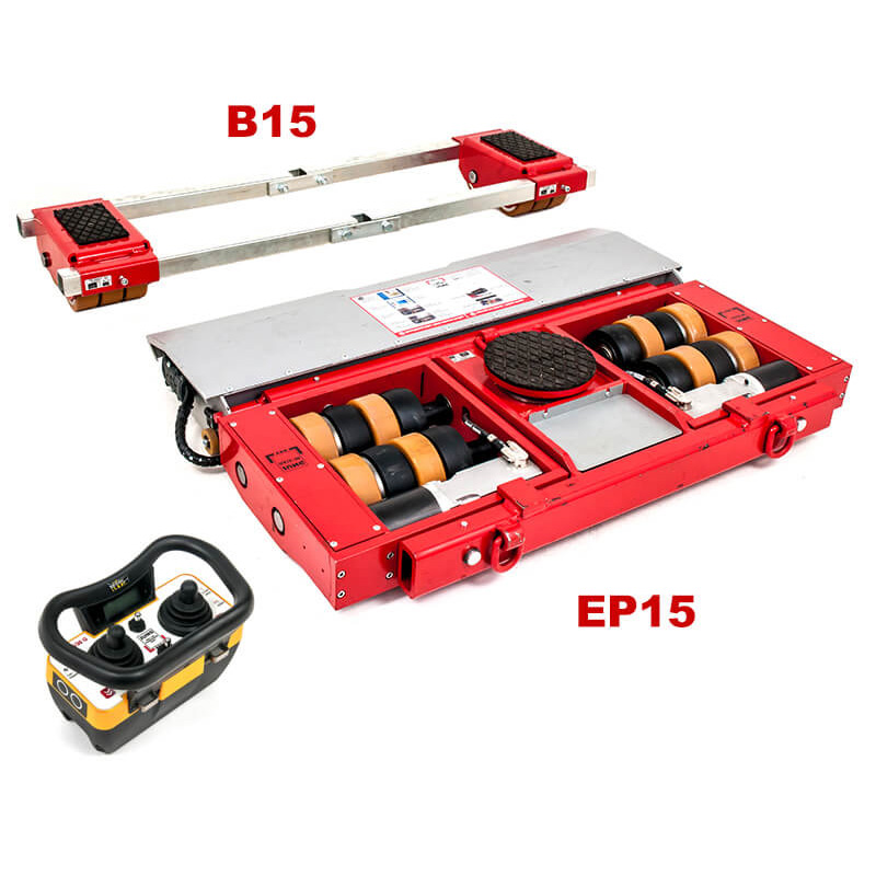 Use steerable rigging skate model EP15 & Straight-line machine skate B15 for heavy equipment moving.