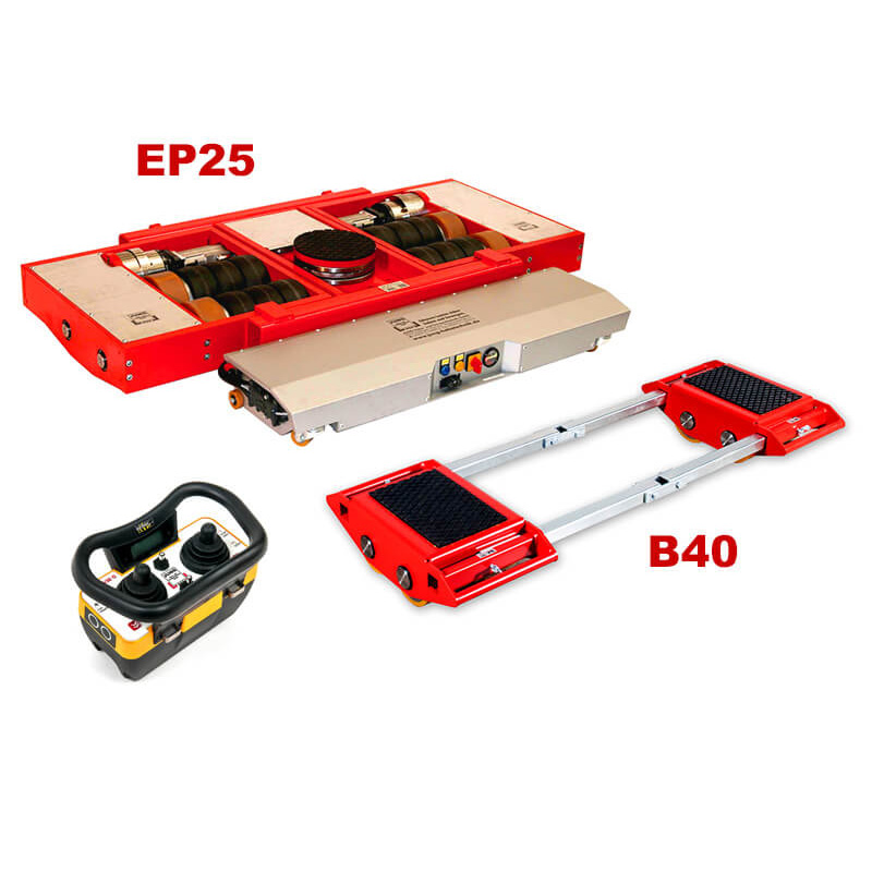 Use steerable rigging skate model EP25 & Straight-line machine skate B40 for heavy equipment moving.