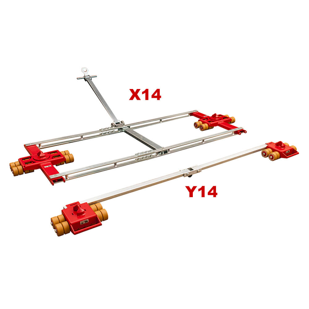 Use steerable rigging skate model X14 & Straight-line moving dolly Y14 for heavy equipment moving.