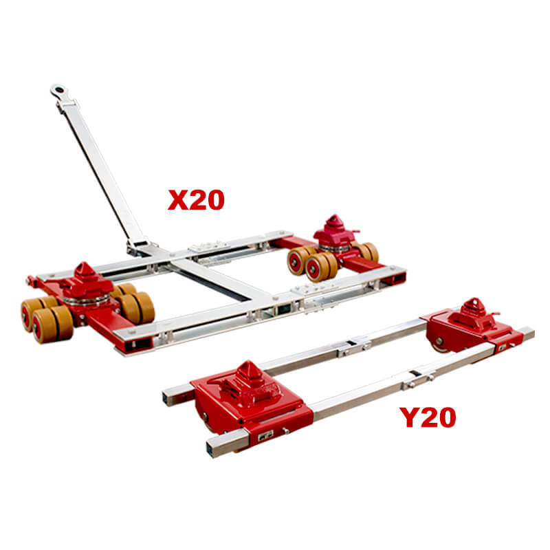 Use steerable rigging skate model X20 & Straight-line moving dolly Y20 for heavy equipment moving.
