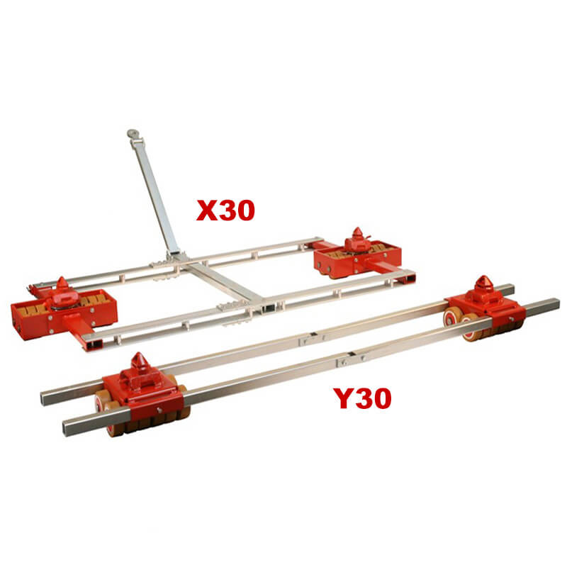 Use steerable rigging skate model X30 & Straight-line moving dolly Y30 for heavy equipment moving.